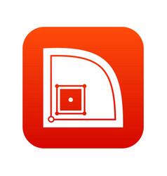 baseball field icon digital red vector image