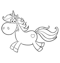 black and white cute magic unicorn vector image