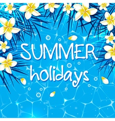 Blue summer marine background with flowers vector image