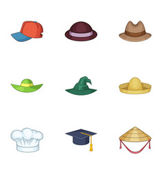 Bonnet icons set cartoon style vector