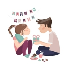 Boy giving gift to girlfriend vector