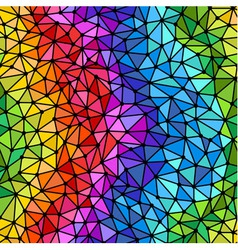 Bright rainbow triangles low poly seamless pattern vector