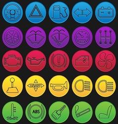 Car Dashboard Icon Set Gradient Line vector