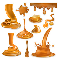 Caramel splash sweet flowing liquid sauce vector