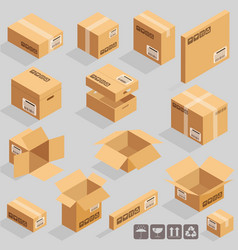 cardboard brown boxes vector image