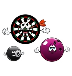 Cartoon bowling billiard and dartboard characters vector image