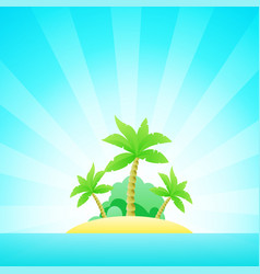 cartoon seascape with exotic island in ocean under vector image