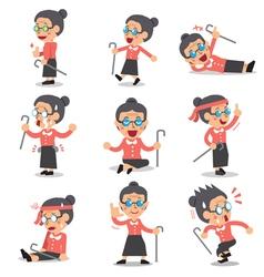 Cartoon senior woman character poses vector