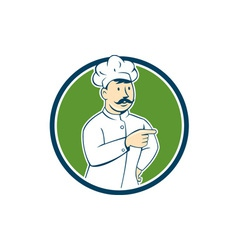 Chef Cook Mustache Pointing Circle Cartoon vector image