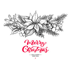 Christmas garland and lettering hand drawn vector