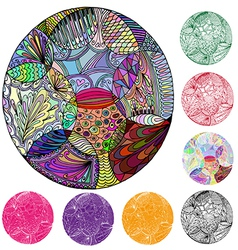 circle of elements of abstraction vector image