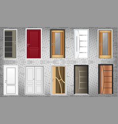 Collection colorful room doors icons vector
