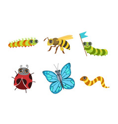 collection cute funny cartoon insects set vector image