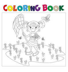 Coloring book girl chasing butterflies vector