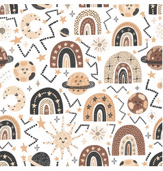 cosmic seamless pattern with cute rainbows and vector image