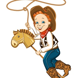 Cowboy child with lasso and toy horse vector