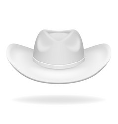 cowboy hat white isolated 3d realistic icon design vector image