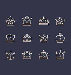 Crowns line icons royalty king monarch queen vector