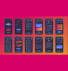Cryptocurrency unique design kit for mobile app vector