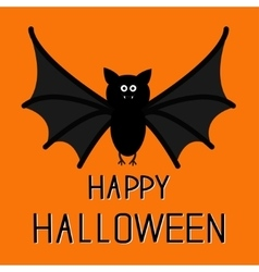 Cute bat Happy Halloween card Flat design vector