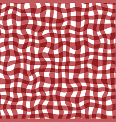 distorted gingham red and white wavy line pattern vector image