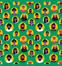 diverse people face icon seamless pattern vector image