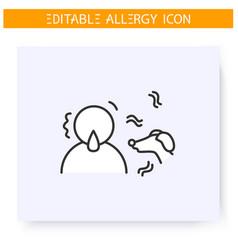 Dog allergy line icon editable vector
