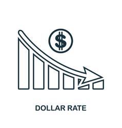 Dollar rate decrease graphic icon mobile app vector