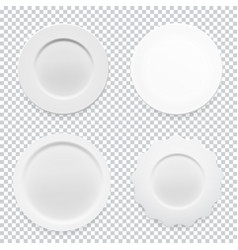 empty white round plate collection set on vector image