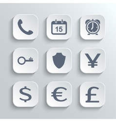 Finance icons set - white app buttons vector image