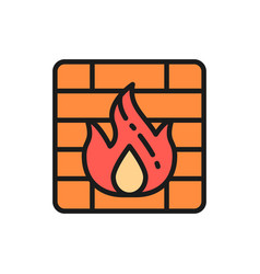 firewall flat color line icon isolated on white vector image