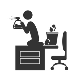 Flat office spring cleaning icon isolated on white vector