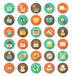 Flat Shopping icons with long shadows vector image vector image