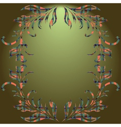 Floral elements green gradient background vector image