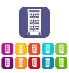 Fridge with refreshments drinks icons set vector