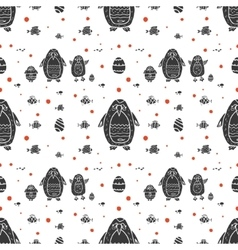 Funny seamless pattern with penguin family vector
