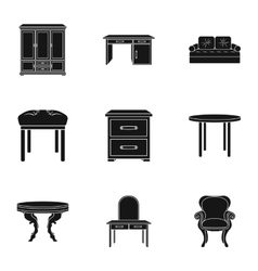 Furniture and home interior set icons in black vector