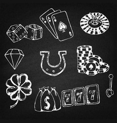 gambling symbols sketches set vector image