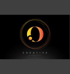 Gold artistic o letter logo design with creative vector
