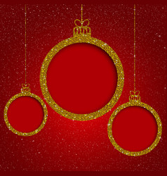 Gold sequin frame star sky christmas ball vector