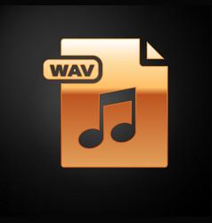 Gold wav file document download wav button icon vector