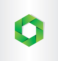 Green hexagon eco symbol abstract background vector