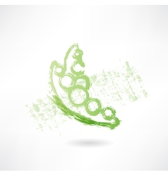 Green peas grunge icon vector