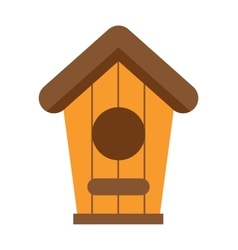handcrafted wooden hut with rofor birds safe vector image