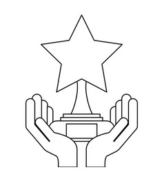 hands holding star trophy award victory vector image
