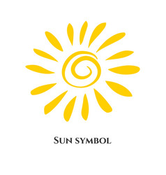 Handwritten sun icon symbol vector