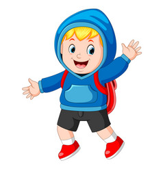 happy boy going to school vector image