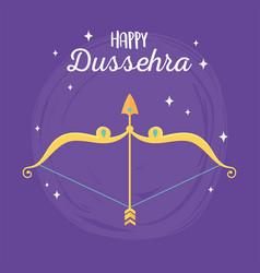 happy dussehra festival india gold arrow bow vector image