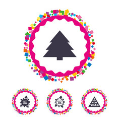 Happy new year sign christmas trees vector