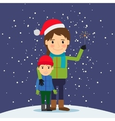 Happy winter time Mom and son with fireworks vector image